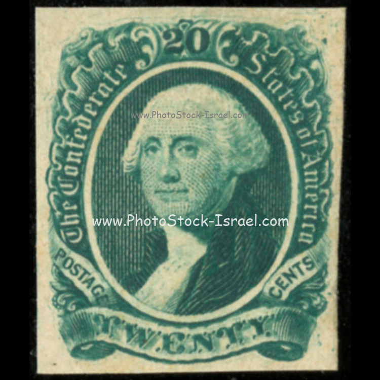 Confederate postage stamps, twenty cent green, general issue 1863, type 13. Postage stamp depicts George Washington printed in green. Postal service of the Confederate States of America. Richmond, Va.