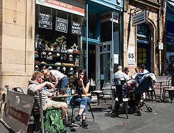 View of cafe on historic Cockburn Street in Old Town of Edinburgh, Scotland, UK