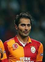 UEFA Champions League Quarter Final first leg match between Real Madrid and Galatasaray at Estadio Santiago Bernabeu on April 3, 2013 in Madrid, Spain.<br /> Pictured: L-R, Selcuk Inan, Burak Yilmaz, Didier Drogba and Hamit Altintop of Galatasaray.