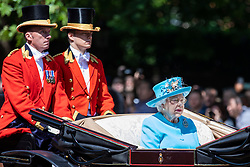 © Licensed to London News Pictures. 09/06/2018. London, UK. Her Majesty Queen Elizabeth II travels down The Mall during the Trooping The Colour ceremony in London to mark the 92nd birthday of Queen Elizabeth II, Britain's longest reigning monarch. Photo credit: Rob Pinney/LNP