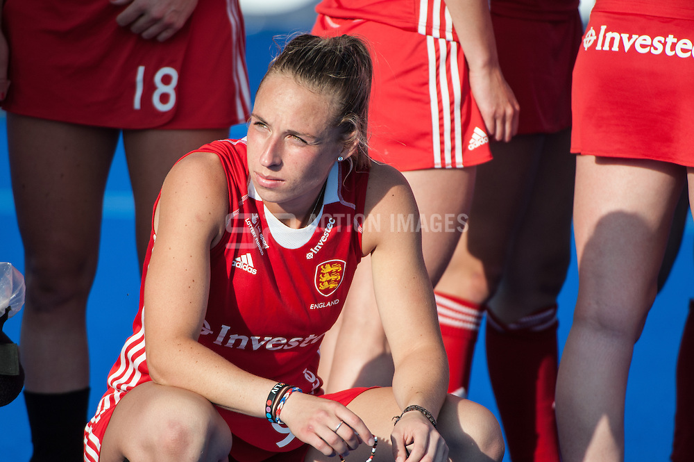 England's Susannah Townsend waits for the presentation ceremony after the Final of the Investec London Cup. Lee Valley Hockey & Tennis Centre, London, UK on 13 July 2014. Photo: Simon Parker