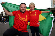 Liverpool fans posing with a Brazil flag. Premier league match, Chelsea v Liverpool at Stamford Bridge in London on Friday 16th September 2016.<br /> pic by John Patrick Fletcher, Andrew Orchard sports photography.