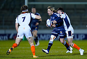 Edinburgh Rugby scrum half Charlie Shiel tackles Sale Sharks scrum-half Faf De Klerk during the European Champions Cup match Sale Sharks -V- Edinburgh Rugby at The AJ Bell Stadium, Greater Manchester,England United Kingdom, Saturday, December 19, 2020. (Steve Flynn/Image of Sport)