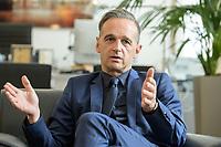 24 JUL 2020, BERLIN/GERMANY:<br /> Heiko Maas, SPD, Bundesaussenminister, waehrend einem Interview, in seinem Buero, Auswaertiges Amt<br /> IMAGE: 20200724-01-018<br /> KEYWORDS: Buero