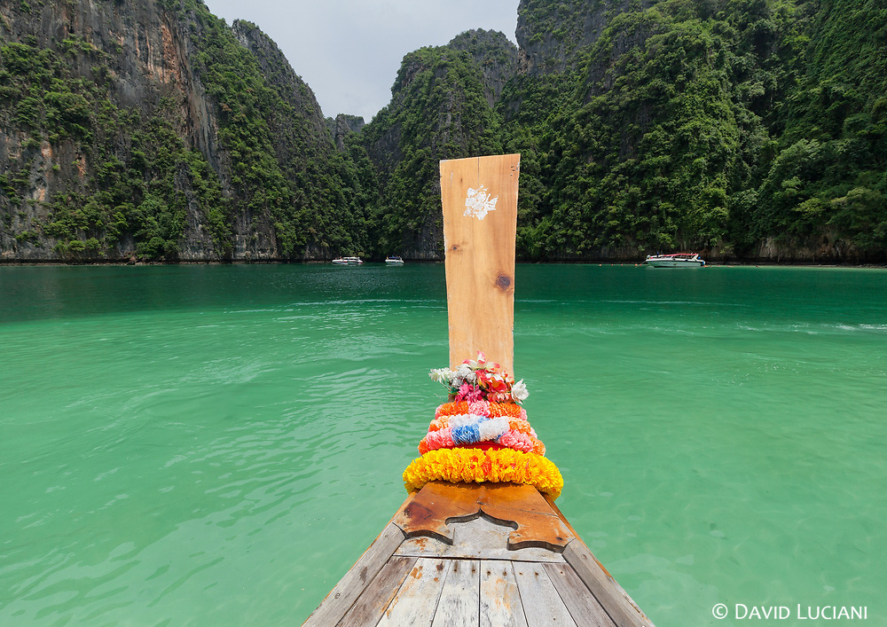 View from a long-tail boat on Pileh Lagoon at Koh Phi Phi Leh Island.
