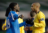 Photo: Glyn Thomas.<br />Birmingham City v Arsenal. The Barclays Premiership. 04/02/2006.<br />Birmingham's Mario Melchiot (L) has a word with Thierry Henry at full time.