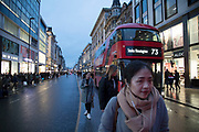 Shoppers on Oxford Street in central London, United Kingdom. This is the busiest shopping district in the capital with Oxford Street being the most crowded.  There are 548 shops in Oxford Street, it is Europes busiest shopping street.