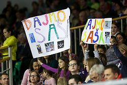 Fans during Final day 2 of Artistic Gymnastics World Challenge Cup Ljubljana, on April 20, 2014 in Hala Tivoli, Ljubljana, Slovenia. (Photo by Matic Klansek Velej / Sportida.com)