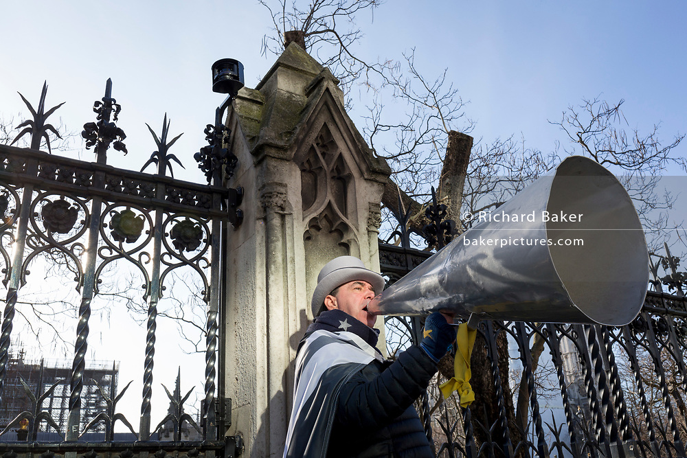 Two days before Brexit Day (the date of 31st January 2020, when the UK legally exits the European Union), infamous Remainer (Mr Brexit) Steve Bray uses his megaphone outside parliament during the weekly Prime Minister's Questions session, in Parliament Square, Westminster, on 29th January 2020, in London, England.