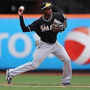 Adeiny Hechavarria, Miami Marlins, in action during the New York Mets V Miami Marlins, Major League Baseball game which went for 20 innings and lasted 6 hours and 25 minutes. The Marlins won the match 2-1. Citi Field, Queens, New York. 8th June 2013. Photo Tim Clayton