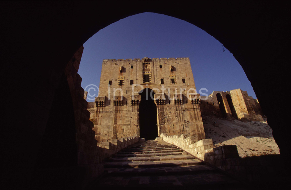 The Citadel in Aleppo is a large medieval fortified palace in the centre of the old city. It is considered to be one of the oldest and largest castles in the world. Usage of the Citadel hill dates back at least to the middle of the 3rd millennium BC. Subsequently occupied by many civilizations including the Greeks, Byzantines, Ayyubids and Mamluks. It is now a World Heritage site.