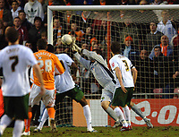 Photo: Paul Greenwood.<br />Blackpool v Norwich City. The FA Cup. 27/01/2007. Norwich goalkeeper saves from Ben Burgess's (no. 28) effort