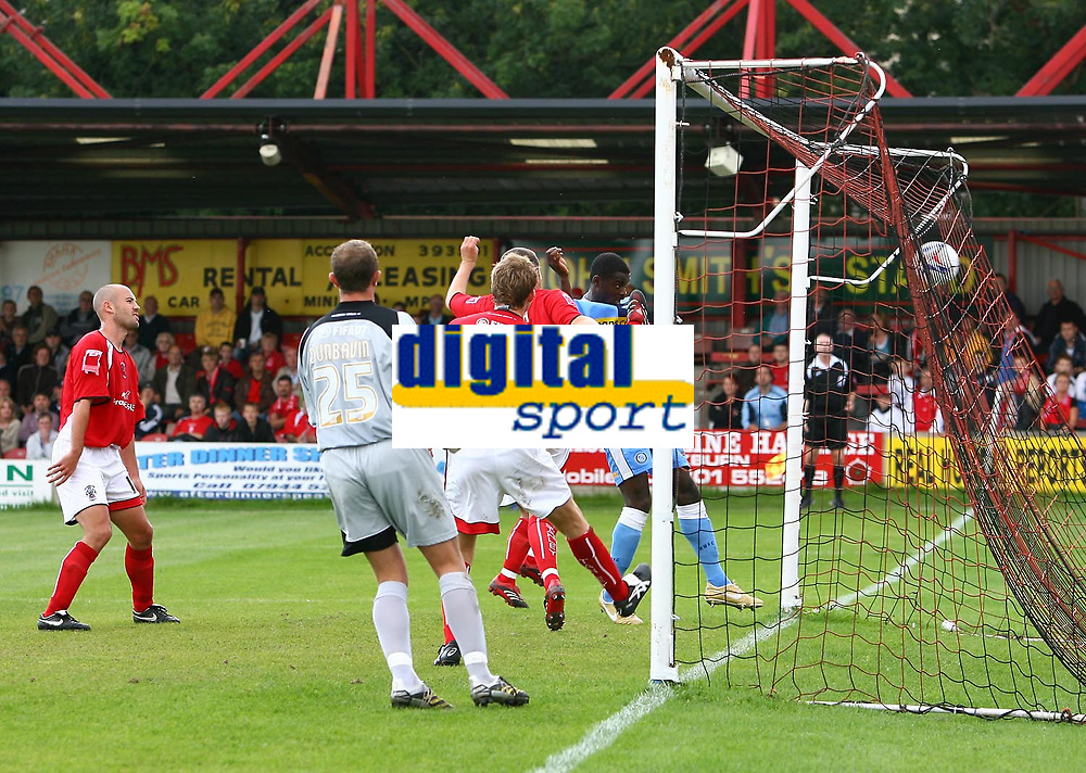 Photo: Andrew Unwin.<br />Accrington Stanley v Wycombe Wanderers. Coca Cola League 2. 30/09/2006.<br />Wycombe's Will Antwi (R) scores his team's first goal.