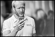Lucerne, SWITZERLAND, Eric MURREY,  in conversation with his mobile phone NZL M2- 2016 European Olympic Qualifying Regatta, Lake Rotsee.<br /> <br /> Monday  23/05/2016<br /> <br /> [Mandatory Credit; Peter SPURRIER/Intersport-images]