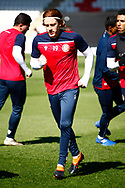 Arthur Read of Stevenage warming up during the EFL Sky Bet League 2 match between Stevenage and Bradford City at the Lamex Stadium, Stevenage, England on 5 April 2021.