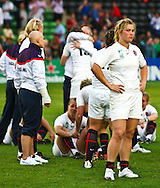 5th September 2010, Twickenham Stoop, London, England: Catherine Spencer of England contemplates losing to New Zealand in the IRB Women's Rugby World Cup final between England and New Zealand Black Ferns. New Zealand won 13-10, capturing the trophy for the 4th time.  (Photo by Andrew Tobin www.slikimages.com)