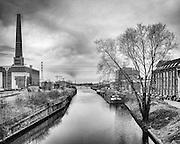 Ghent, Belgium, 18 feb 2014, View from Ghent Dampoort towards De oude dokken