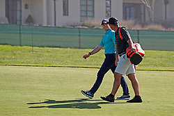 June 11, 2019 - Pebble Beach, CA, U.S. - PEBBLE BEACH, CA - JUNE 11: PGA golfer Rory McIlroy walks the 14th hole with his caddie during a practice round for the 2019 US Open on June 11, 2019, at Pebble Beach Golf Links in Pebble Beach, CA. (Photo by Brian Spurlock/Icon Sportswire) (Credit Image: © Brian Spurlock/Icon SMI via ZUMA Press)