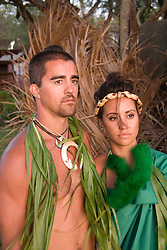 Hawaii: Molokai, young couple at protocol spiritual ceremonies at Kaupoa Beach..Photo himolo214-71997..Photo copyright Lee Foster, www.fostertravel.com, lee@fostertravel.com, 510-549-2202