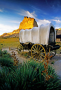 Image of a covered wagon along the Oregon Trail at Scotts Bluff National Monument, Nebraska, America Midwest by Randy Wells