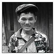 Portrait of a man wearing a flat cap, Bao Lac market, northern Vietnam, Southeast Asia