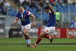 March 16, 2019 - Rome, RM, Italy - Romain Ntamack of France during the Six Nations International Rugby Union match between Italy and France at Stadio Olimpico on March 16, 2019 in Rome, Italy. (Credit Image: © Danilo Di Giovanni/NurPhoto via ZUMA Press)