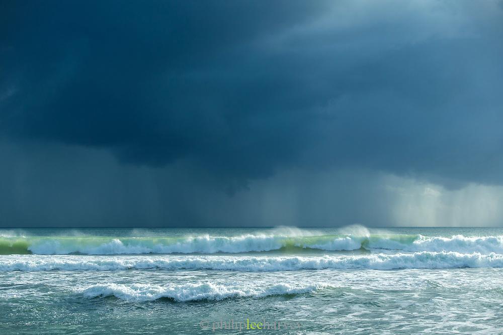Surf and heavy clouds, Red Island Beach, Red Island, Banyuwangi Regency, East Java, Indonesia, Southeast Asia