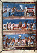 Bible of Charles the Bald (823-877).  Life of St Jerome. Top; leaves Rome for Jerusalem. Middle; In discussion with Saints Paul and Eustogine, behind is Saint Luke and two scribes. Bottom; Distributes copies of  his  translation of the Bible (The Vulgate) to monks.   9th century manuscript. Bibliotheque Nationale, Paris.