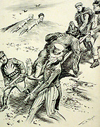 Anti-Communist cartoon of 1918 by W.A. Rogers published during the Red Scare, 1917-1919.. 'A Hospital Case':  Allies (Japan, England US and Cechoslovakia)  carry a wounded bear (Russia)while Lenin and Tritsky watch from a sand hill.