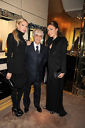 Left to right, PETRA ECCLESTONE, BERNIE ECCLESTONE and TAMARA ECCLESTONE at a party to celebrate the launch of a collection of jewellery by Tamara Ecclestoen for jewellers Moussaieff held at their store in New Bond Street, London on 9th December 2008.
