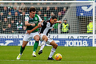 Ryan Edwards of St Mirren shields the ball during the Ladbrokes Scottish Premiership match between St Mirren and Hibernian at the Simple Digital Arena, Paisley, Scotland on 29th September 2018.