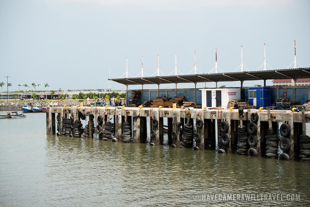 A jetty on the waterfront of Panama City, Panama, on Panama Bay.