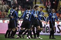 """Hernan Crespo festeggia il gol con i compagni di squadra (Inter)<br /> Italian """"Serie A"""" 2006-2007<br /> 19 Nov 2006 (Match Day 12)<br /> Inter-Reggina (1-0)<br /> """"San Siro"""" Stadium-Milano-Italy<br /> Photographer:Jennifer Lorenzini Inside"""