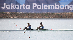 PALEMBANG, Aug. 24, 2018  Miyaura Masayuki (R) and Takeda Masahiro of Japan compete during the men's lightweight double sculls final of the rowing event at the Asian Games 2018 in Palembang, Indonesia on Aug. 24, 2018. (Credit Image: © Cheng Min/Xinhua via ZUMA Wire)