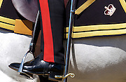 Cavalry soldier with riding boot and spur in military uniform on parade at Sandhurst Royal Military Academy, Surrey,