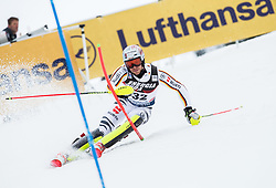 """Sebastian Holzmann (GER) competes during 1st Run of FIS Alpine Ski World Cup 2017/18 Men's Slalom race named """"Snow Queen Trophy 2018"""", on January 4, 2018 in Course Crveni Spust at Sljeme hill, Zagreb, Croatia. Photo by Vid Ponikvar / Sportida"""