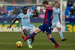January 14, 2018 - Valencia, Valencia, Spain - Pione Sisto (L) of Real Club Celta de Vigo competes for the ball with Jason of Levante UD during the La Liga game between Levante UD and Real Club Celta de Vigo at Ciutat de Valencia stadium on January 14, 2018 in Valencia, Spain  (Credit Image: © David Aliaga/NurPhoto via ZUMA Press)