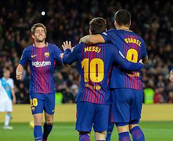 Diciembre 17, 2017 - Barcelona, Barcelona, Spain ..Partido de La Liga entre el FC Barcelona y el RC Deportivo disputado en el Camp Nou.  10) Messi (delantero) y (09) Suárez (delantero) celebran el gol con (20) Sergi Roberto (centrocampista) (Credit Image: © Joan Gosa/Xinhua via ZUMA Wire)