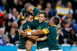 South Africa Outside Centre Jesse Kriel (L) celebrates scoring a try - Mandatory byline: Rogan Thomson/JMP - 07966 386802 - 07/10/2015 - RUGBY UNION - The Stadium, Queen Elizabeth Olympic Park - London, England - South Africa v USA - Rugby World Cup 2015 Pool B.