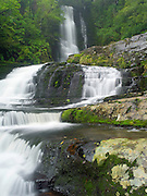 View of McLean Falls, in the MacLennan Range, Catlins Conservation Area, near Chaslands, New Zealand (south end of South Island).