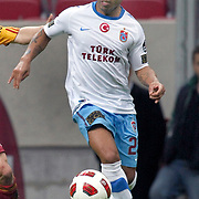 Trabzonspor's Alan Carlos Gomes Da COSTA during their Turkish superleague soccer derby match Galatasaray between Trabzonspor at the TT Arena in Istanbul Turkey on Sunday, 10 April 2011. Photo by TURKPIX