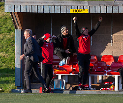 Broxburn Athletic manager Brian McNaughton celebrates after Craig Scott scored their second goal. Broxburn Athletic FC 3 v 0 Cowdenbeath, William Hill Scottish Cup 2nd Round replay played 26/10/2019 at Albyn Park, Greendykes Road, Broxburn.