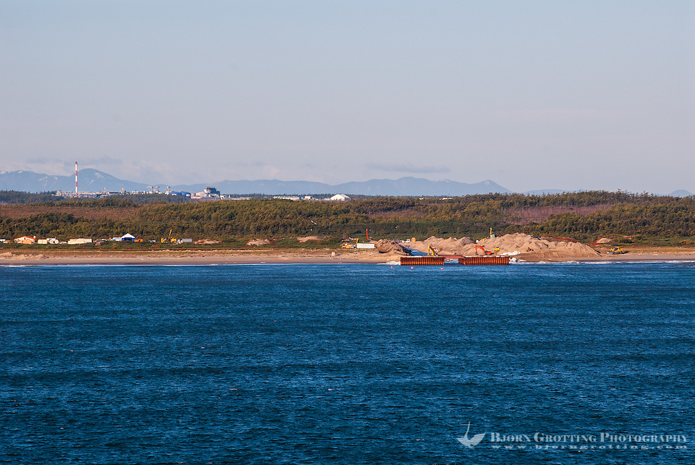 Russia, Sakhalin, Sea of Okhotsk. Sakhalin north-east coastline. There is a growing oil industry here.