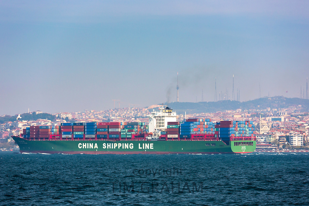 Bulk carrier freight container ship China Shipping Line in River Bosphorus  and Sea of Marmara, Istanbul, Republic of Turkey