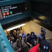 Fans arrive at 161 Street-Yankee Stadium Station for the New York Yankees V New York Mets Subway Series Baseball game at Yankee Stadium, The Bronx, New York. 8th June 2012. Photo Tim Clayton