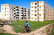 Apartment buildings in Gibara, Holguin, Cuba.