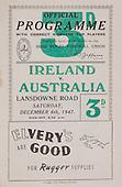 Rugby 06/12/1947 Tour Match Ireland Vs Australia