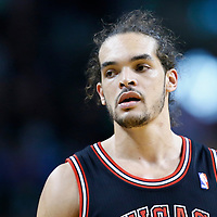 18 January 2013: Chicago Bulls center Joakim Noah (13) rests during the Chicago Bulls 100-99 overtime victory over the Boston Celtics at the TD Garden, Boston, Massachusetts, USA.