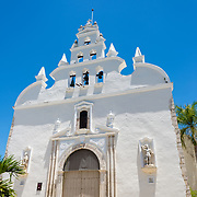White facade of Santiago Apostol Church in Merida, Mexico