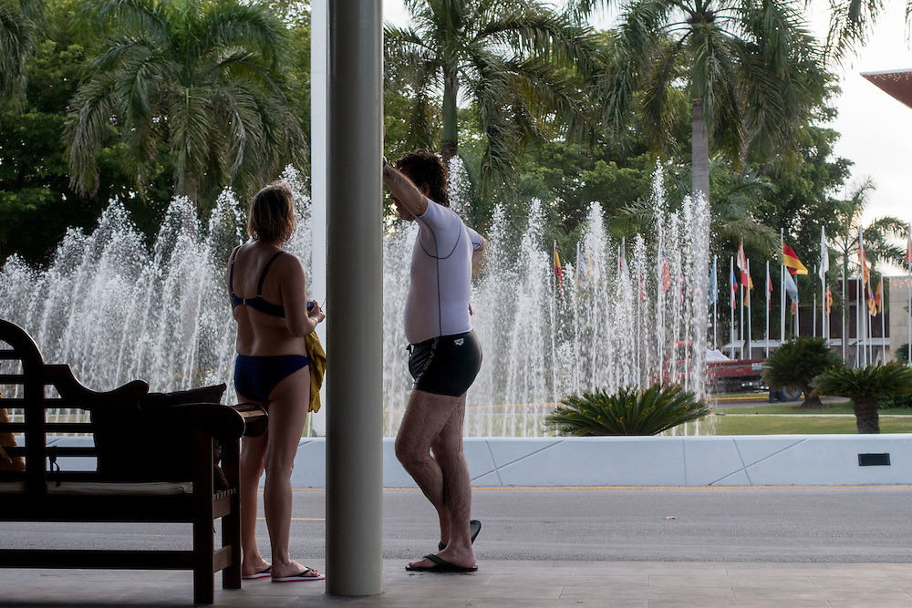 BAVARO, DOMINICAN REPUBLIC-DECEMBER 3, 2014: <br /> Tourist wait for a shuttle bus in the entrance of the all inclusive Barceló Premium Adults Only hotel in Bávaro. Story on tourism to the Caribbean Island.  (Photo by Angel Valentin/Getty Images for Der Spiegel)